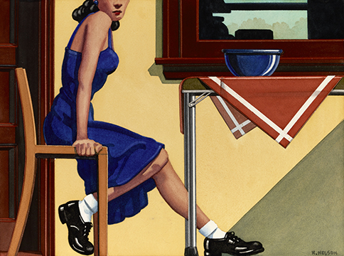 Kenton Nelson, Blue Dress, 2013, Watercolor on Paper, 9×12 inches Courtesy Peter Mendenhall Gallery